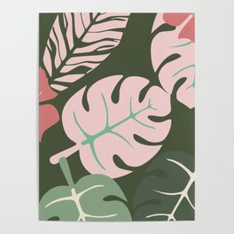 Tropical leaves green and pink paradises Poster