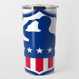 American Soldier Saluting USA Flag Crest Icon Travel Mug