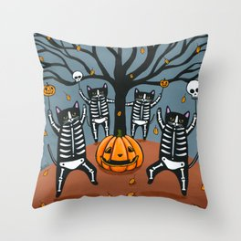 The Celebration of Halloween Skellie Cats Throw Pillow