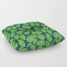Monstera leaves, tropical watercolor pattern Floor Pillow