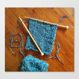 knitting photo, denim, denim photo, blue, wood, knitting, knit, brown, Canvas Print