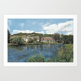English Cottages by a River. Art Print