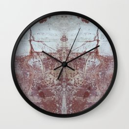 Red and White Concrete Wall Wall Clock