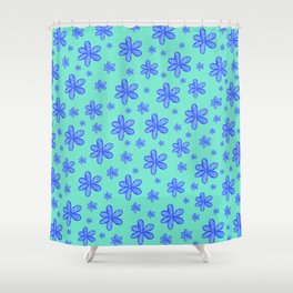 navy blue girly flowers on cyan blue background patter graphic design Shower Curtain