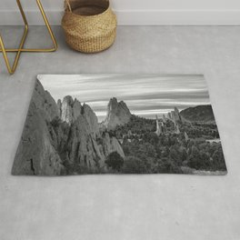 Garden of the Gods - Colorado Springs Landscape in Black and White Rug