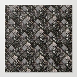 Faux Patchwork Quilting - Black Canvas Print