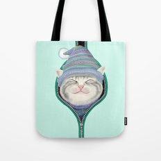 Cat in the zip Tote Bag