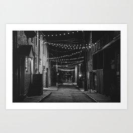 Chapel Street String Lights B&W Art Print