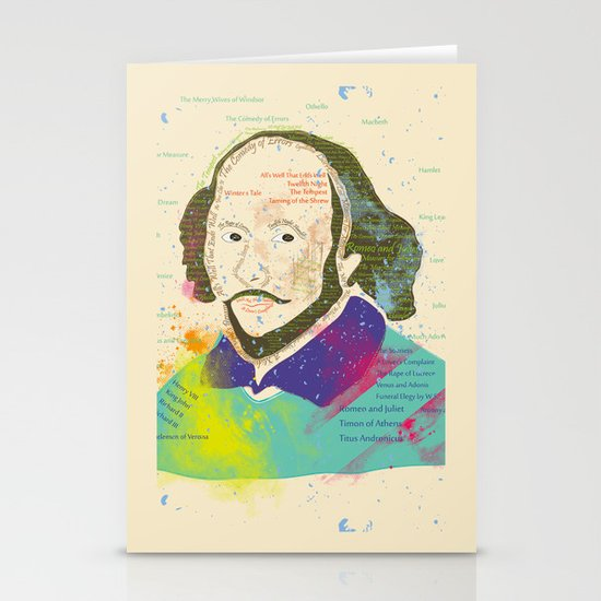 Portrait of William Shakespeare-Hand drawn Stationery Cards