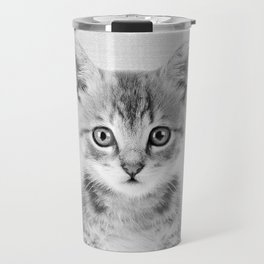 Kitten - Black & White Travel Mug