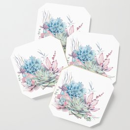 Pretty Pastel Succulents Coaster
