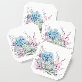 Pretty Pastel Succulents Coaster
