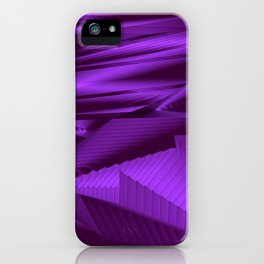 Diffuse landscap with stylised mountains, sea and violet Sun. iPhone Case