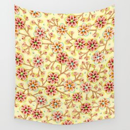Candy Apple Blossom Yellow Wall Tapestry