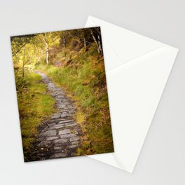 dark autumn forest pathway Stationery Cards