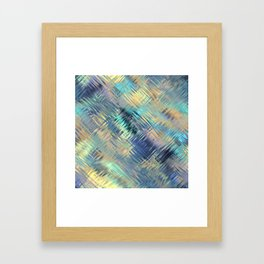 Modern Abstract Light Reflective, Teal, Purple, Gold, Glass, Optical Illusion Framed Art Print