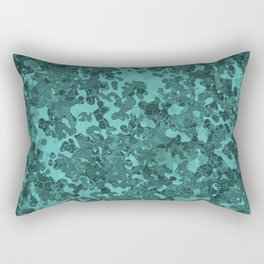 Turquoise Blue Hybrid Camo Pattern Rectangular Pillow