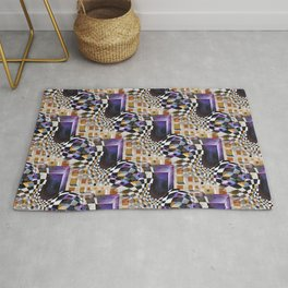 Modern Retro Abstract, 80s 90s Vintage Artwork, Chess Board Pattern Rug