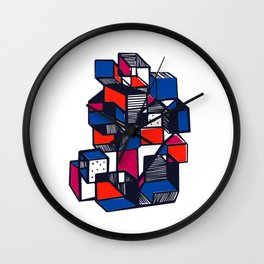 Geometric city pop art modern Wall Clock