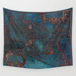 Antique Map Teal Blue and Copper Wall Tapestry