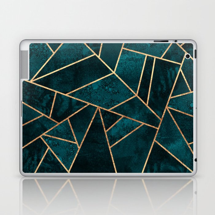 Deep Teal Stone Laptop & iPad Skin