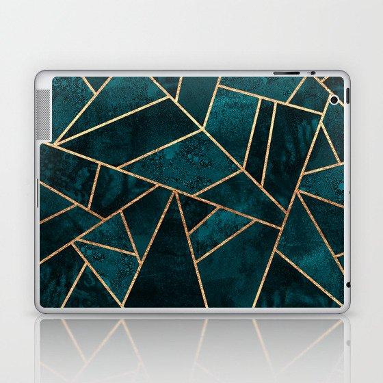 Deep Teal Stone Laptop & iPad Skin