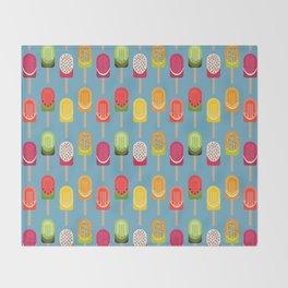 Fruit popsicles - blue version Throw Blanket