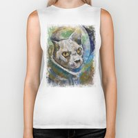 space cat Biker Tanks featuring Space Cat by Michael Creese