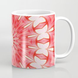 Star White and Red Butterfly Motif Mandala Coffee Mug