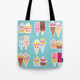 Kawaii cupcakes, ice cream in waffle cones, ice lolly Tote Bag