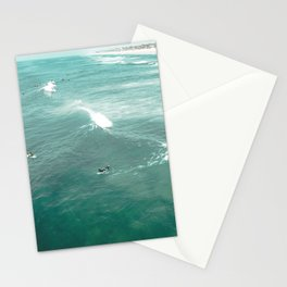California Surf // Coastal Spring Waves Teal Blue and Green Ocean Huntington Beach Views Stationery Cards