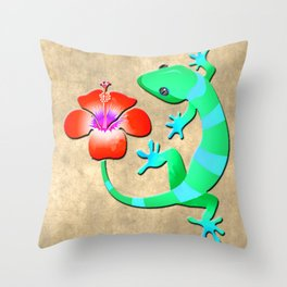 Blue and Green Jungle Lizard with Orange Hibiscus /BACKGROUND Throw Pillow