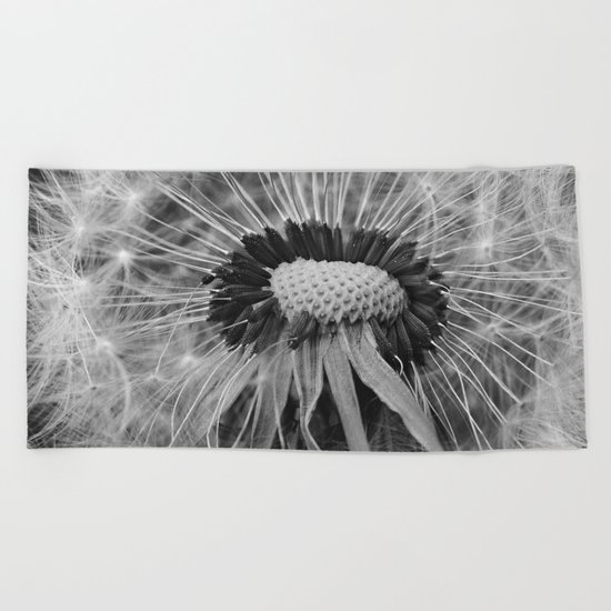 Dandelion Black and White Photography | Nature Art | Plant | Botanical | Wish Beach Towel