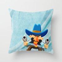 dwight schrute Throw Pillows featuring Dwight McStetson by Rabassa