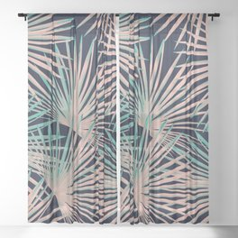 Tropical Fan Palm Leaves #5 #tropical #decor #art #society6 Sheer Curtain