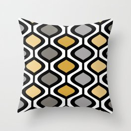 Mid Century Modern Rounded Diamond Pattern // Black, Gray, Gold, Butter Yellow // Version 1 Throw Pillow