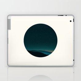 Mid Century Modern Round Circle Photo Graphic Design Minimal Night Sky With Mountain Silhouette Laptop & iPad Skin