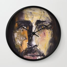 Christ with yellow eyes Wall Clock