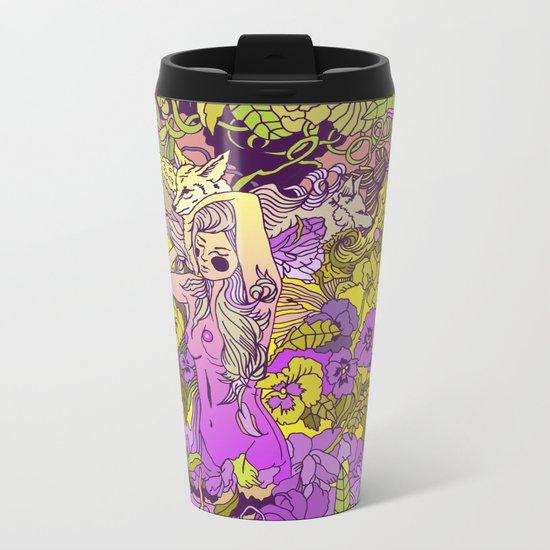 Garden Pansy Metal Travel Mug