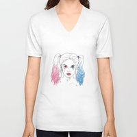 harley quinn V-neck T-shirts featuring Harley Quinn by Lazy Daisy