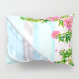 Colonial Havana Architecture with Pink Bougainvillea Pillow Sham
