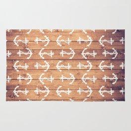 Vintage White Nautical Anchors Pattern Brown Wood Rug