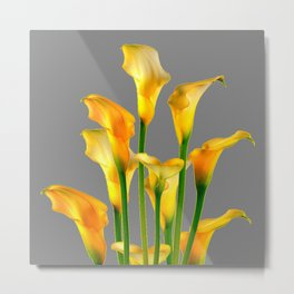 DECORATIVE GOLDEN CALLA LILY FLOWERS ON GREY ART Metal Print