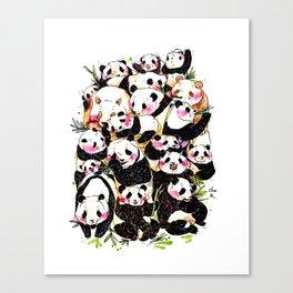 Wild Family Series - Afternoon Tea Panda Canvas Print