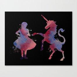 Girl with unicorn Canvas Print