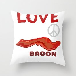 Love, Peace And Bacon Grease Throw Pillow