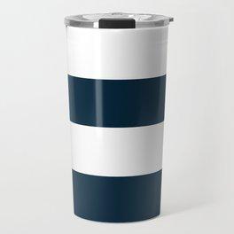 Navy Ocean Cabana Stripes Travel Mug