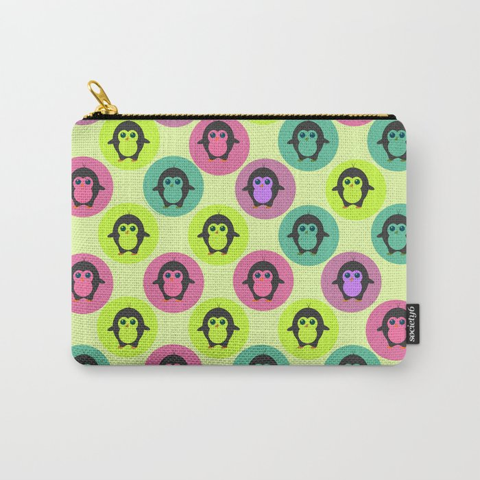 Penguins in colorful bubbles Carry-All Pouch