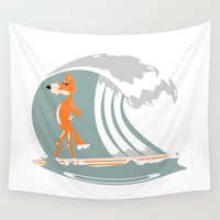 surfboard Wall Tapestries featuring Fox Surfing by mailboxdisco