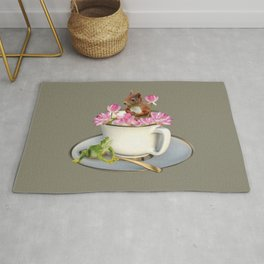 Coffee Cup with Squirrel & Frog pink Lotus Flowers Rug